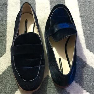 Zara Basic Blue Velvet Loafers